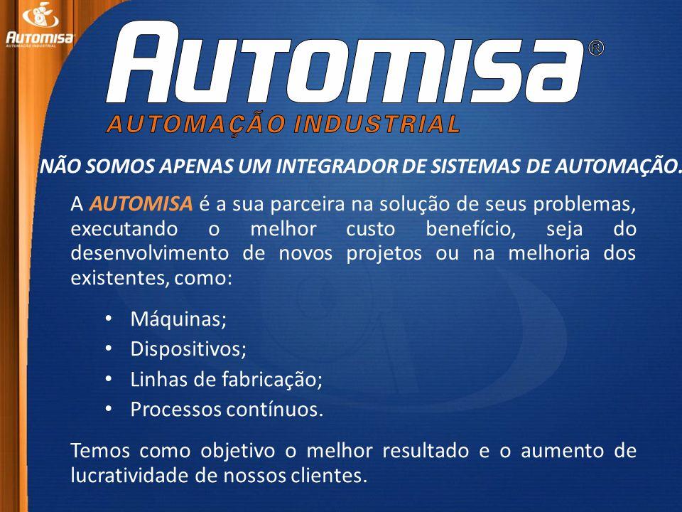 A AUTOMISA é a sua parceira na solução de seus problemas, executando o melhor custo benefício, seja do desenvolvimento de novos projetos ou na melhoria dos existentes, como: • Máquinas; • Dispositivos; • Linhas de fabricação; • Processos contínuos.