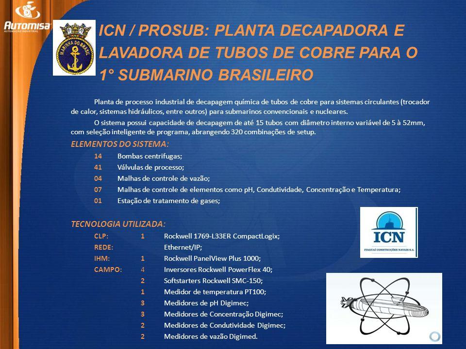 ICN / PROSUB: PLANTA DECAPADORA E LAVADORA DE TUBOS DE COBRE PARA O 1° SUBMARINO BRASILEIRO Planta de processo industrial de decapagem química de tubos de cobre para sistemas circulantes (trocador de calor, sistemas hidráulicos, entre outros) para submarinos convencionais e nucleares.