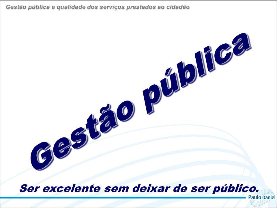 da organização que temos O desafio da mudança para a organização que queremos Gestão pública e qualidade dos serviços prestados ao cidadão