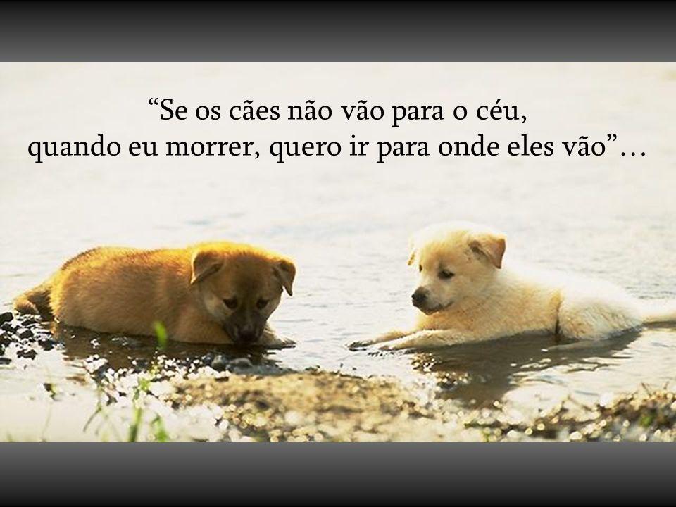 Se os cães não vão para o céu, quando eu morrer, quero ir para onde eles vão …