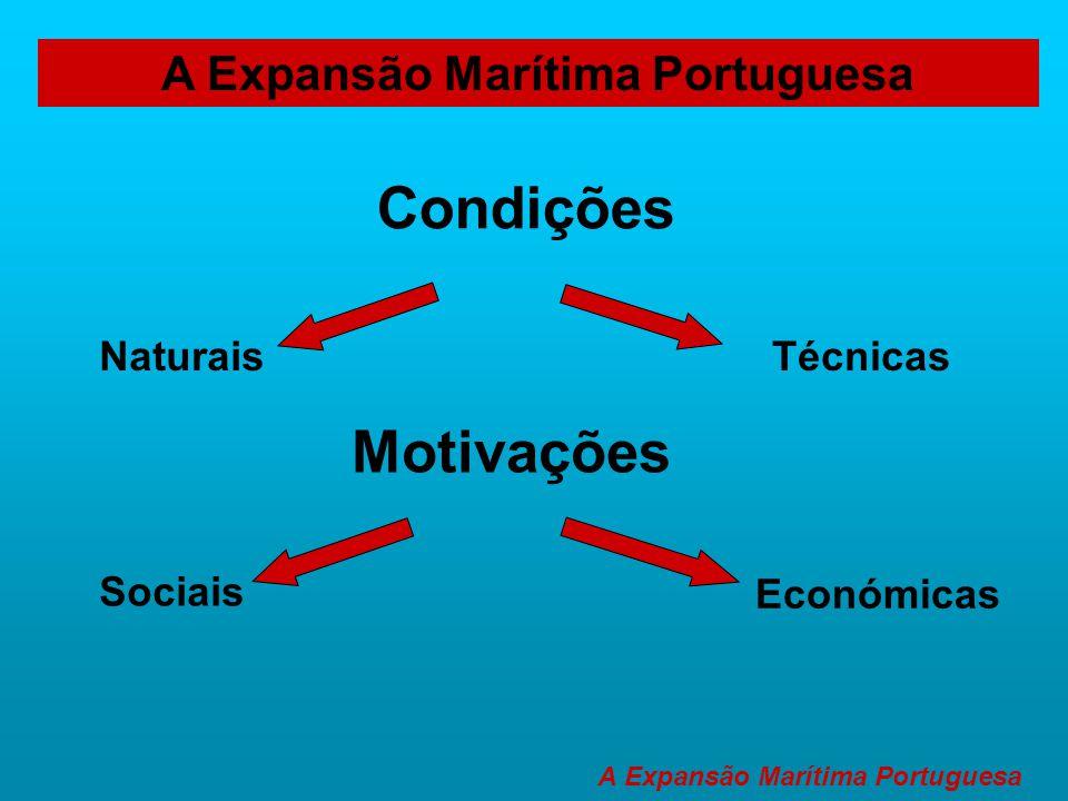 A Expansão Marítima Portuguesa Condições NaturaisTécnicas Motivações Sociais Económicas A Expansão Marítima Portuguesa