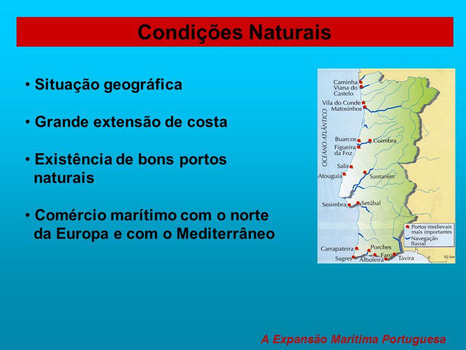 Condições Naturais • Situação geográfica • Grande extensão de costa • Existência de bons portos naturais • Comércio marítimo com o norte da Europa e c
