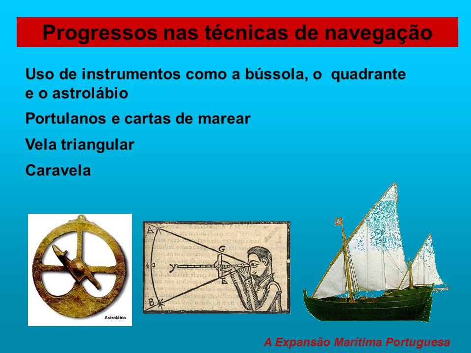 Uso de instrumentos como a bússola, o quadrante e o astrolábio Progressos nas técnicas de navegação A Expansão Marítima Portuguesa Caravela Portulanos