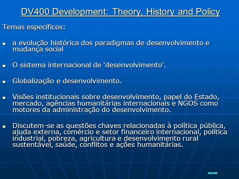 DV400 Development: Theory, History and Policy DV400 Development: Theory, History and Policy Temas específicos:  a evolução histórica dos paradigmas d