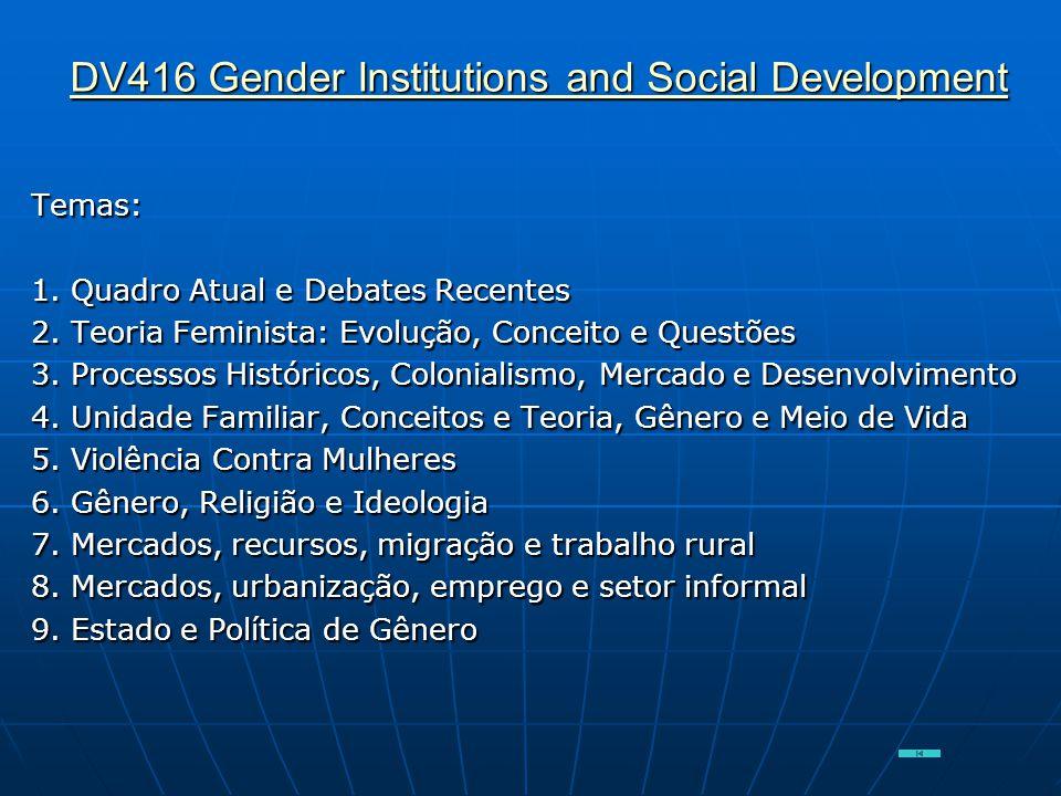 DV416 Gender Institutions and Social Development DV416 Gender Institutions and Social DevelopmentTemas: 1. Quadro Atual e Debates Recentes 2. Teoria F