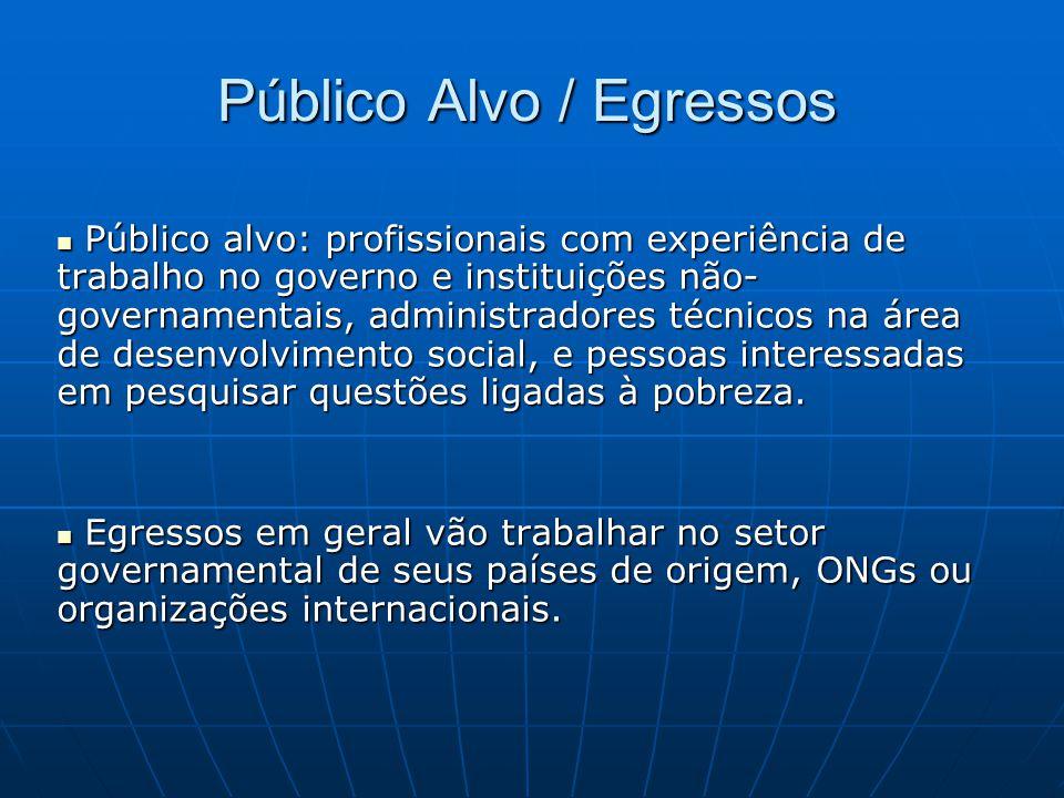 Público Alvo / Egressos  Público alvo: profissionais com experiência de trabalho no governo e instituições não- governamentais, administradores técni