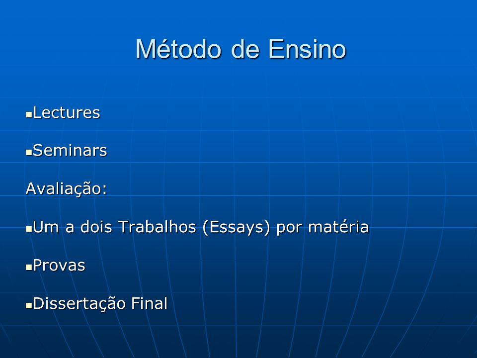 Método de Ensino  Lectures  Seminars Avaliação:  Um a dois Trabalhos (Essays) por matéria  Provas  Dissertação Final
