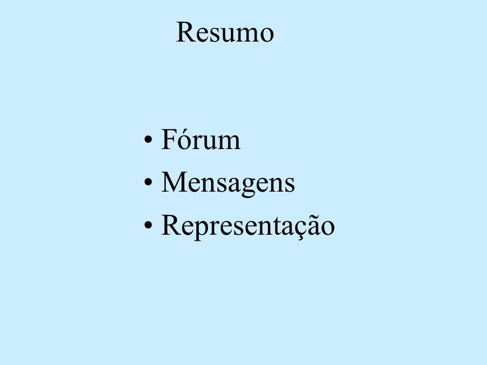Resumo •Fórum •Mensagens •Representação