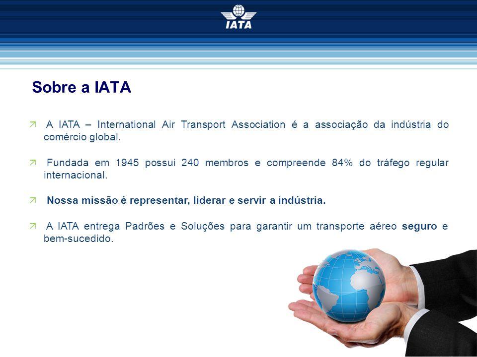 Sobre a IATA  A IATA – International Air Transport Association é a associação da indústria do comércio global.  Fundada em 1945 possui 240 membros e