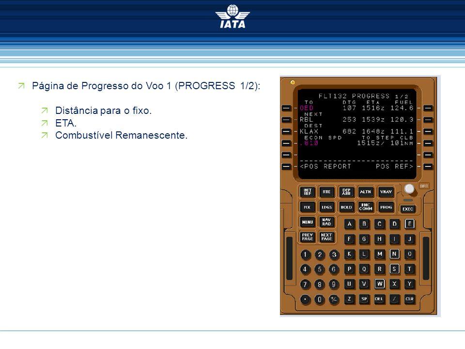  Página de Progresso do Voo 1 (PROGRESS 1/2):  Distância para o fixo.  ETA.  Combustível Remanescente.