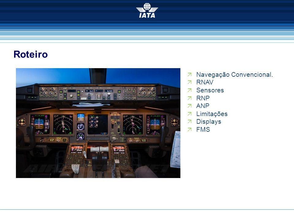  Navegação Convencional.  RNAV  Sensores  RNP  ANP  Limitações  Displays  FMS Roteiro