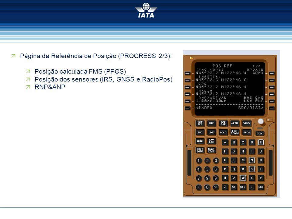  Página de Referência de Posição (PROGRESS 2/3):  Posição calculada FMS (PPOS)  Posição dos sensores (IRS, GNSS e RadioPos)  RNP&ANP