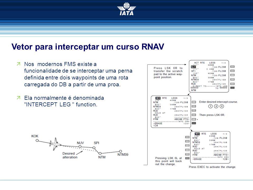Vetor para interceptar um curso RNAV  Nos modernos FMS existe a funcionalidade de se interceptar uma perna definida entre dois waypoints de uma rota