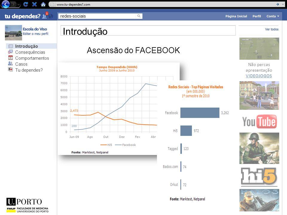 redes-sociais Não percas apresentação VIDEOJOGOS Introdução Ascensão do FACEBOOK Introdução Consequências Comportamentos Casos Tu dependes?