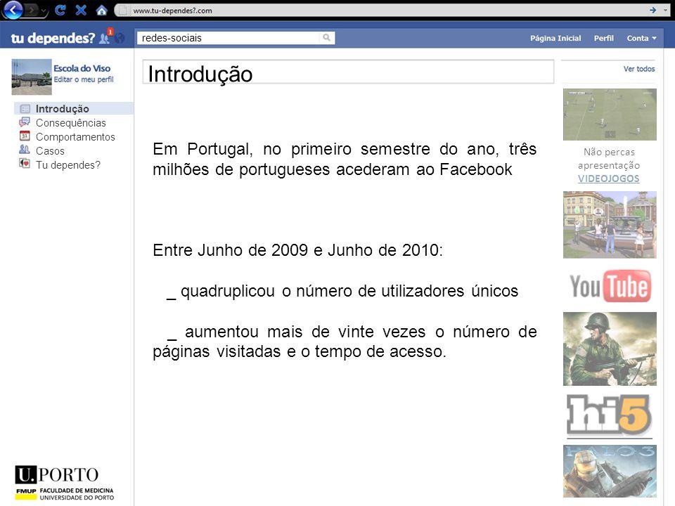 redes-sociais Não percas apresentação VIDEOJOGOS Introdução Em Portugal, no primeiro semestre do ano, três milhões de portugueses acederam ao Facebook