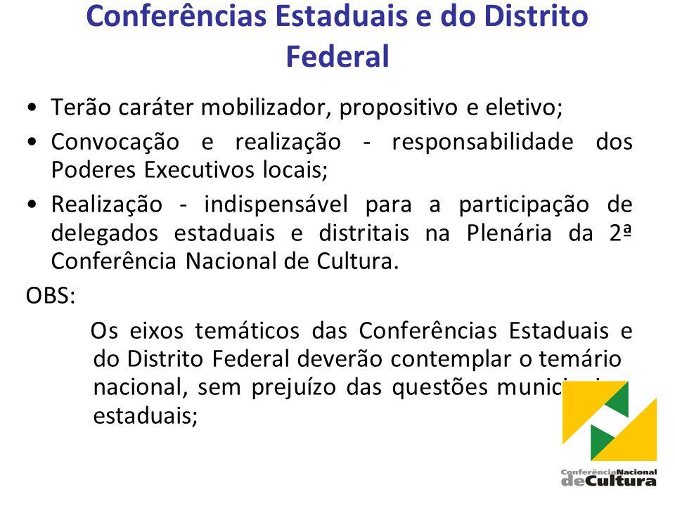 Conferências Estaduais e do Distrito Federal •Terão caráter mobilizador, propositivo e eletivo; •Convocação e realização - responsabilidade dos Poderes Executivos locais; •Realização - indispensável para a participação de delegados estaduais e distritais na Plenária da 2ª Conferência Nacional de Cultura.