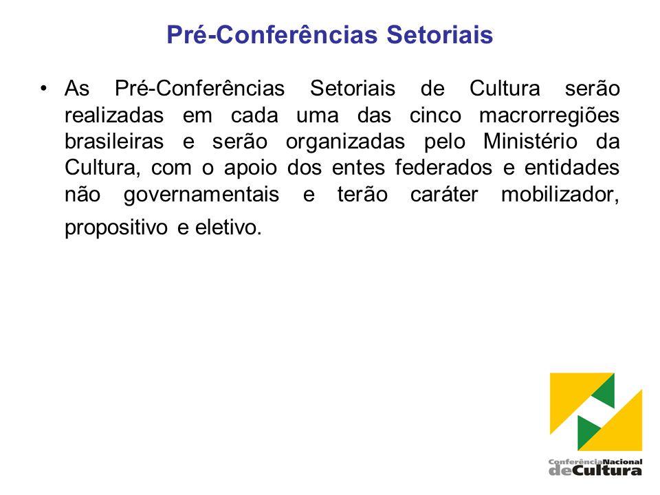 Pré-Conferências Setoriais •As Pré-Conferências Setoriais de Cultura serão realizadas em cada uma das cinco macrorregiões brasileiras e serão organizadas pelo Ministério da Cultura, com o apoio dos entes federados e entidades não governamentais e terão caráter mobilizador, propositivo e eletivo.