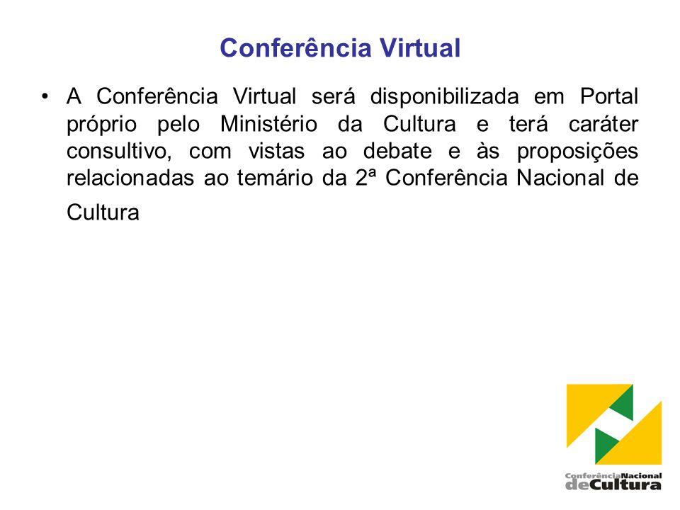 Conferência Virtual •A Conferência Virtual será disponibilizada em Portal próprio pelo Ministério da Cultura e terá caráter consultivo, com vistas ao debate e às proposições relacionadas ao temário da 2ª Conferência Nacional de Cultura