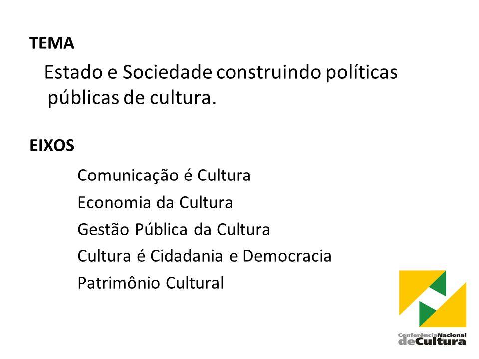 TEMA Estado e Sociedade construindo políticas públicas de cultura.