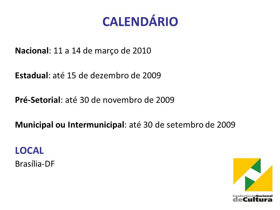 CALENDÁRIO Nacional: 11 a 14 de março de 2010 Estadual: até 15 de dezembro de 2009 Pré-Setorial: até 30 de novembro de 2009 Municipal ou Intermunicipal: até 30 de setembro de 2009 LOCAL Brasília-DF