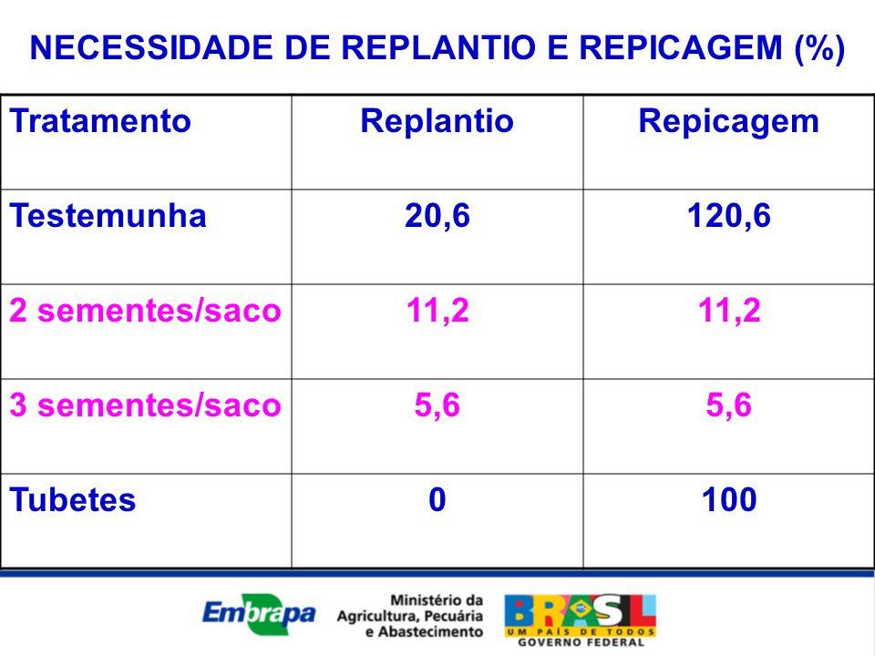 TratamentoReplantioRepicagem Testemunha20,6120,6 2 sementes/saco11,2 3 sementes/saco5,6 Tubetes0100 NECESSIDADE DE REPLANTIO E REPICAGEM (%)