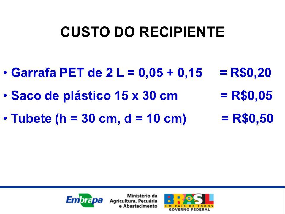 CUSTO DO RECIPIENTE • Garrafa PET de 2 L = 0,05 + 0,15 = R$0,20 • Saco de plástico 15 x 30 cm = R$0,05 • Tubete (h = 30 cm, d = 10 cm) = R$0,50