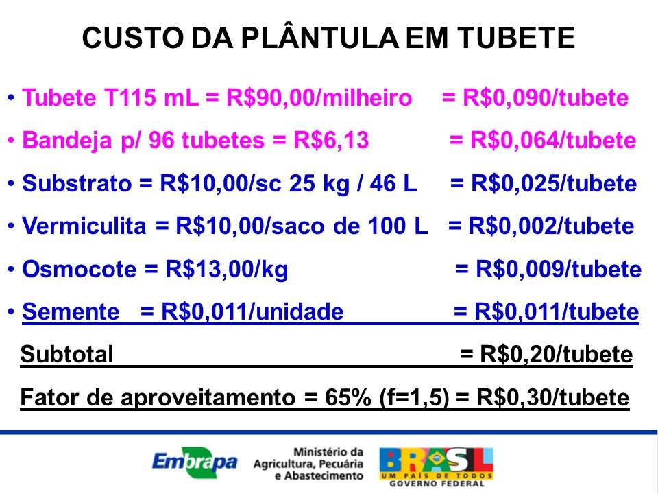 CUSTO DA PLÂNTULA EM TUBETE • Tubete T115 mL = R$90,00/milheiro = R$0,090/tubete • Bandeja p/ 96 tubetes = R$6,13 = R$0,064/tubete • Substrato = R$10,00/sc 25 kg / 46 L = R$0,025/tubete • Vermiculita = R$10,00/saco de 100 L = R$0,002/tubete • Osmocote = R$13,00/kg = R$0,009/tubete • Semente = R$0,011/unidade = R$0,011/tubete Subtotal = R$0,20/tubete Fator de aproveitamento = 65% (f=1,5) = R$0,30/tubete