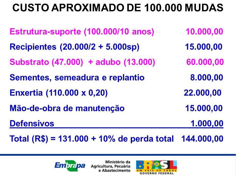 CUSTO APROXIMADO DE 100.000 MUDAS Estrutura-suporte (100.000/10 anos) 10.000,00 Recipientes (20.000/2 + 5.000sp) 15.000,00 Substrato (47.000) + adubo (13.000) 60.000,00 Sementes, semeadura e replantio 8.000,00 Enxertia (110.000 x 0,20) 22.000,00 Mão-de-obra de manutenção 15.000,00 Defensivos 1.000,00 Total (R$) = 131.000 + 10% de perda total 144.000,00