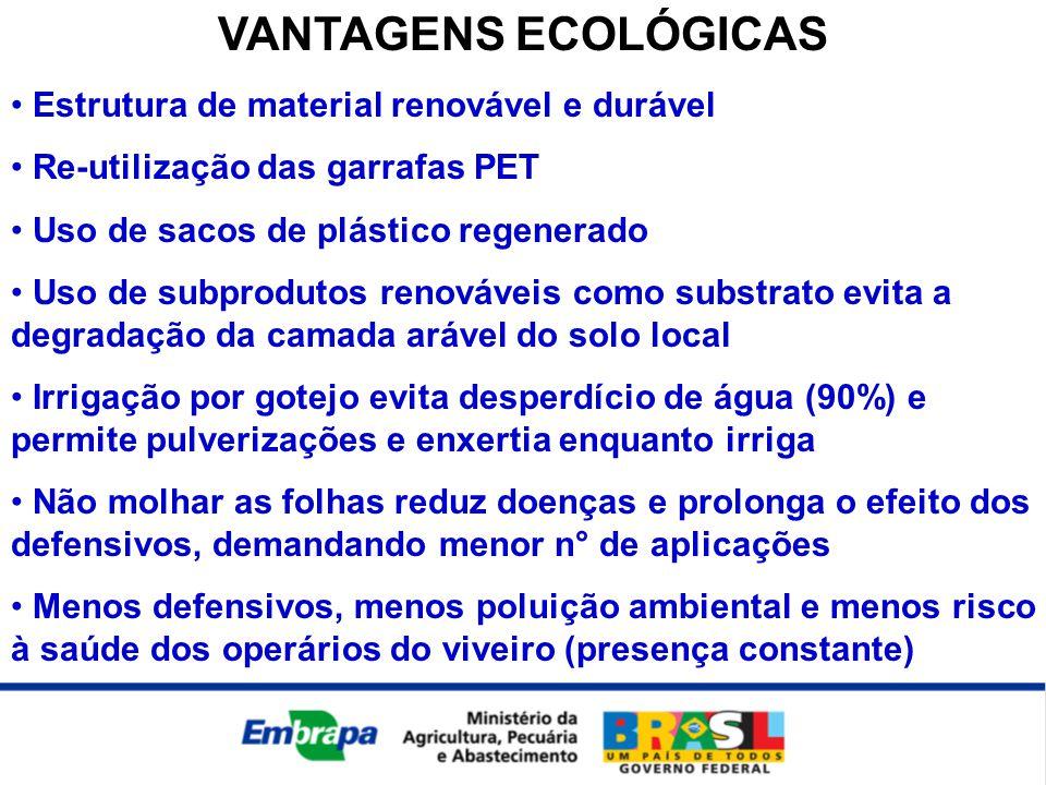 VANTAGENS ECOLÓGICAS • Estrutura de material renovável e durável • Re-utilização das garrafas PET • Uso de sacos de plástico regenerado • Uso de subpr