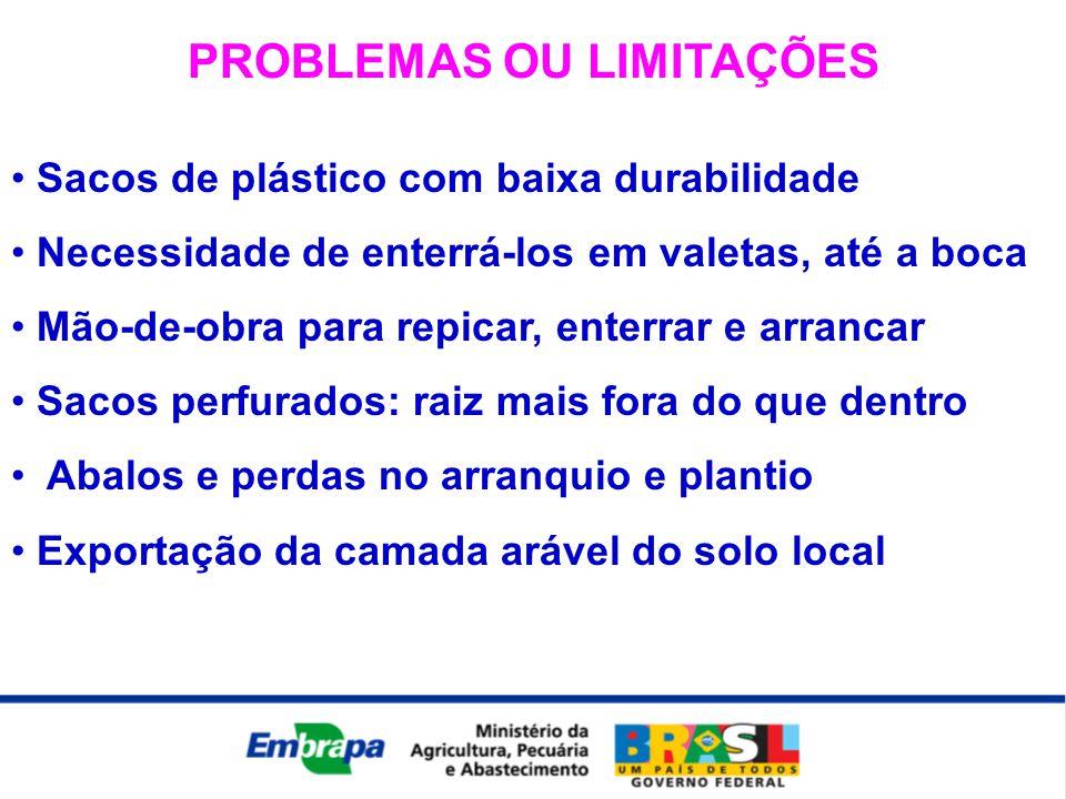 PROBLEMAS OU LIMITAÇÕES • Sacos de plástico com baixa durabilidade • Necessidade de enterrá-los em valetas, até a boca • Mão-de-obra para repicar, ent