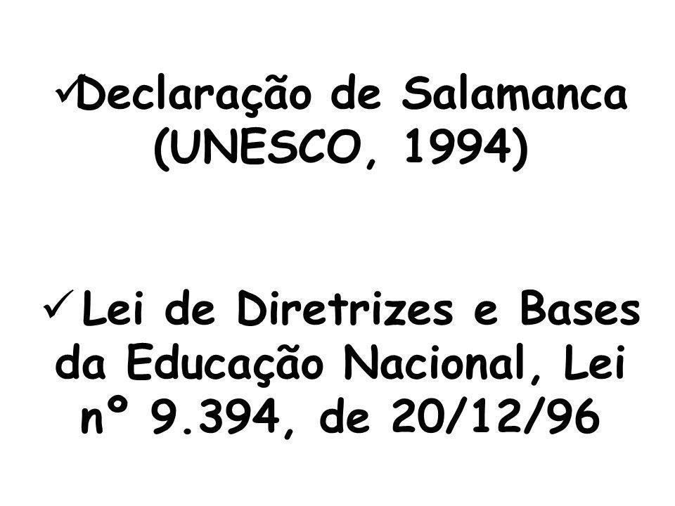  Constituição Federal de 1988  Carta de Jomtien, Tailândia, 1990  Plano Nacional de Educação para Todos, 1993