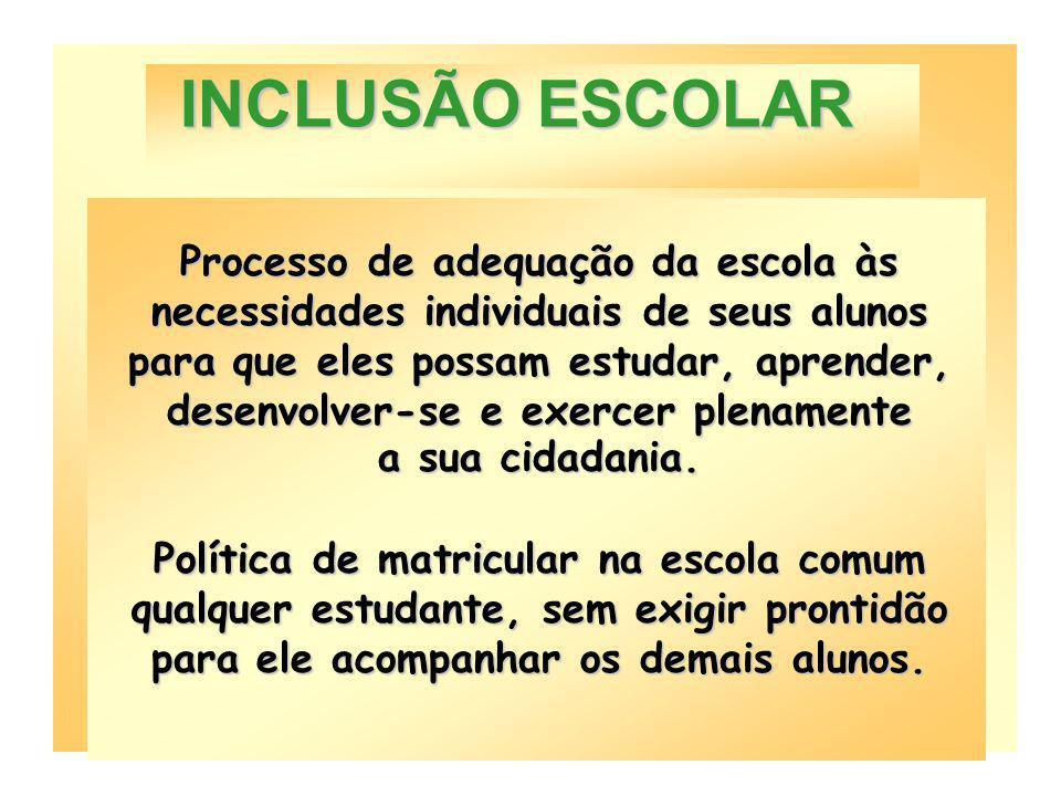 Inclusão, portanto, não significa simplesmente matricular todos os educandos com necessidades educacionais especiais na classe comum, ignorando suas n