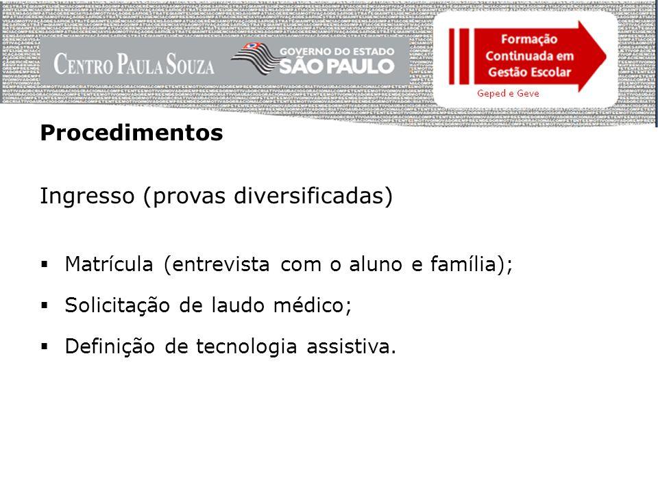 Procedimentos Ingresso (provas diversificadas)  Matrícula (entrevista com o aluno e família);  Solicitação de laudo médico;  Definição de tecnologia assistiva.