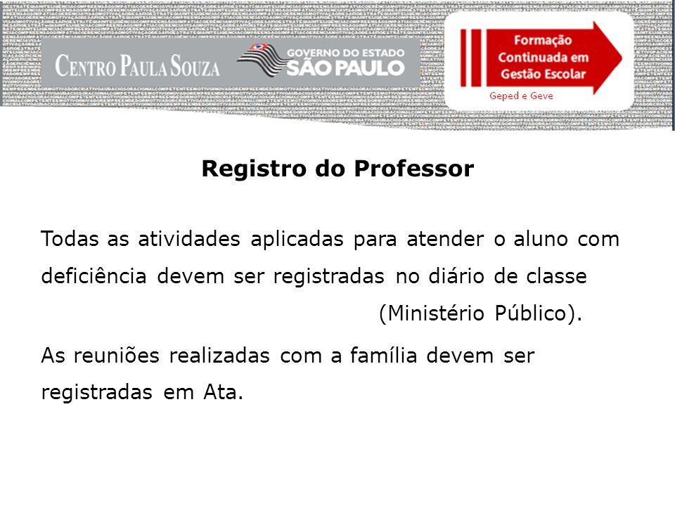Registro do Professor Todas as atividades aplicadas para atender o aluno com deficiência devem ser registradas no diário de classe (Ministério Público).