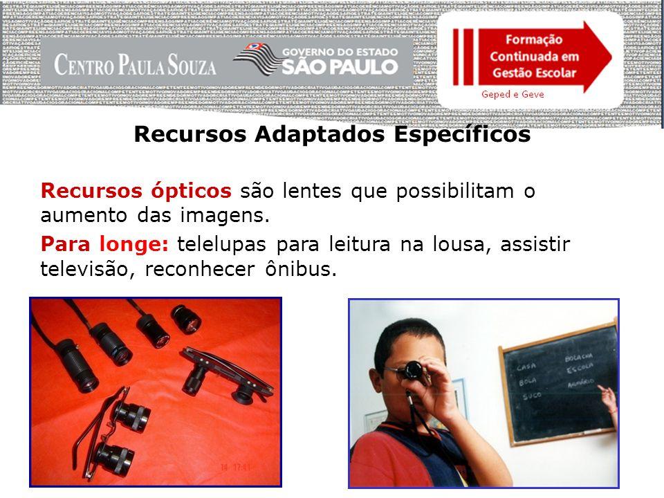 Recursos Adaptados Específicos Recursos ópticos são lentes que possibilitam o aumento das imagens.