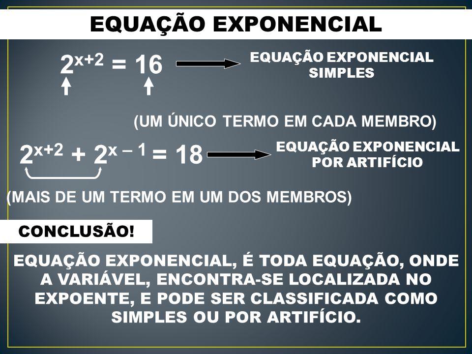 EQUAÇÃO EXPONENCIAL 2 x+2 + 2 x – 1 = 18 2 x+2 = 16 (UM ÚNICO TERMO EM CADA MEMBRO) (MAIS DE UM TERMO EM UM DOS MEMBROS) EQUAÇÃO EXPONENCIAL SIMPLES EQUAÇÃO EXPONENCIAL POR ARTIFÍCIO CONCLUSÃO.