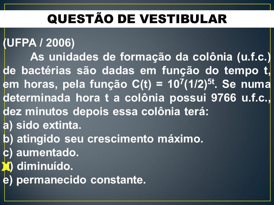 QUESTÃO DE VESTIBULAR (UFPA / 2006) As unidades de formação da colônia (u.f.c.) de bactérias são dadas em função do tempo t, em horas, pela função C(t) = 10 7 (1/2) 5t.