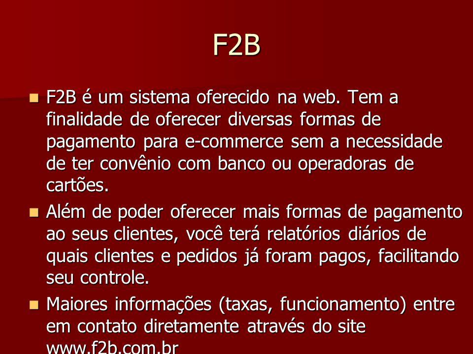 Cadastrando Forma do Pagamento do Tipo F2B  Para disponibilizar o F2B você precisa: 1) Efetuar o cadastro no site www.f2b.com.br www.f2b.com.br 2) Para ativar sua conta é necessário enviar as imagens dos documentos solicitadas pelo F2B.