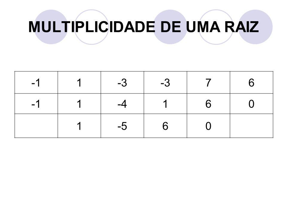 MULTIPLICIDADE DE UMA RAIZ 1-3 76 1-4160 1-560