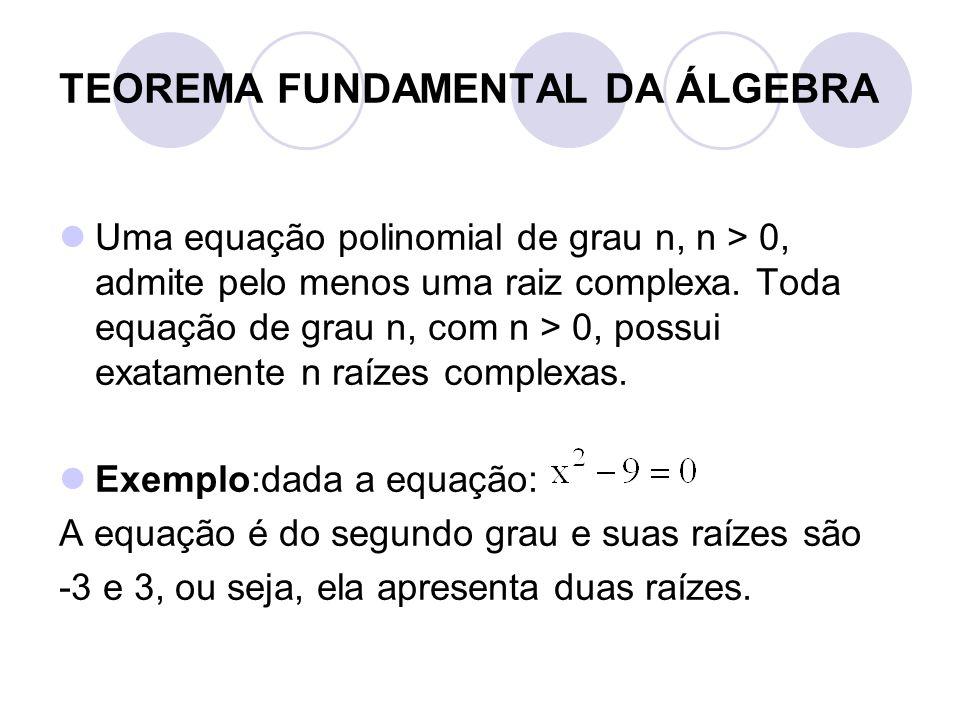 TEOREMA FUNDAMENTAL DA ÁLGEBRA  Uma equação polinomial de grau n, n > 0, admite pelo menos uma raiz complexa. Toda equação de grau n, com n > 0, poss