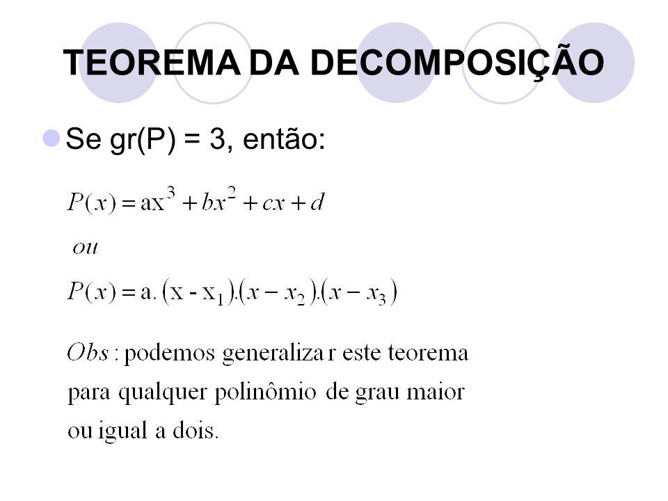 TEOREMA DA DECOMPOSIÇÃO  Se gr(P) = 3, então: