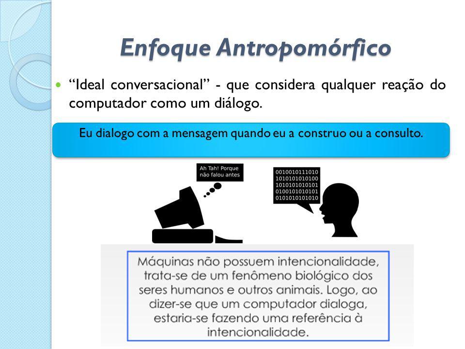 """Enfoque Antropomórfico  """"Ideal conversacional"""" - que considera qualquer reação do computador como um diálogo."""