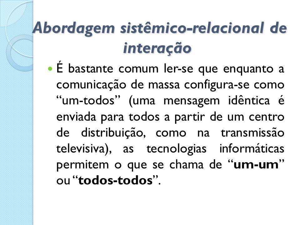 Abordagem sistêmico-relacional de interação Abordagem sistêmico-relacional de interação  É bastante comum ler-se que enquanto a comunicação de massa