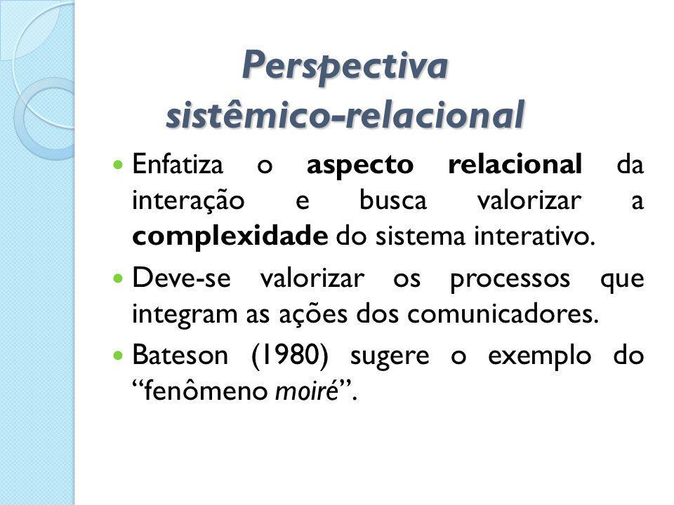 Perspectiva sistêmico-relacional  Enfatiza o aspecto relacional da interação e busca valorizar a complexidade do sistema interativo.  Deve-se valori