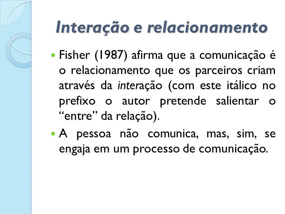 Interação e relacionamento  Fisher (1987) afirma que a comunicação é o relacionamento que os parceiros criam através da interação (com este itálico n