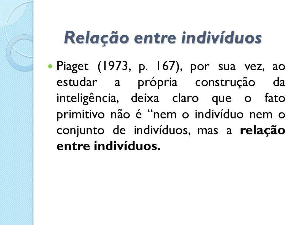 Relação entre indivíduos  Piaget (1973, p. 167), por sua vez, ao estudar a própria construção da inteligência, deixa claro que o fato primitivo não é