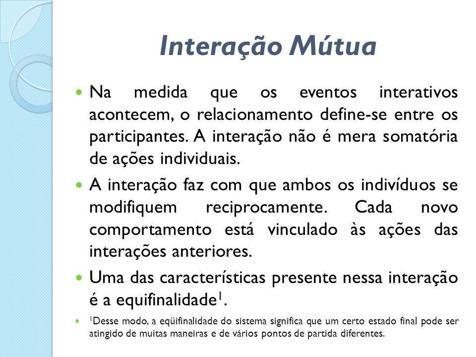  Na medida que os eventos interativos acontecem, o relacionamento define-se entre os participantes. A interação não é mera somatória de ações individ