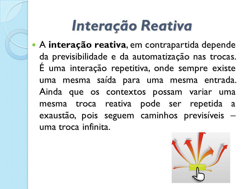 Interação Reativa  A interação reativa, em contrapartida depende da previsibilidade e da automatização nas trocas. É uma interação repetitiva, onde s