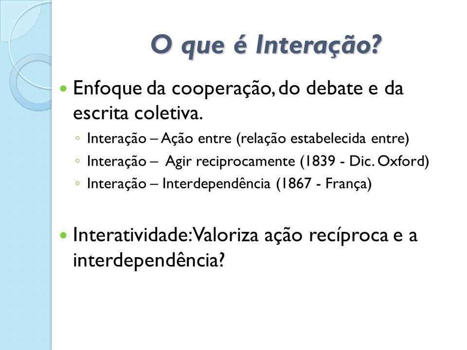 O que é Interação?  Enfoque da cooperação, do debate e da escrita coletiva. ◦ Interação – Ação entre (relação estabelecida entre) ◦ Interação – Agir
