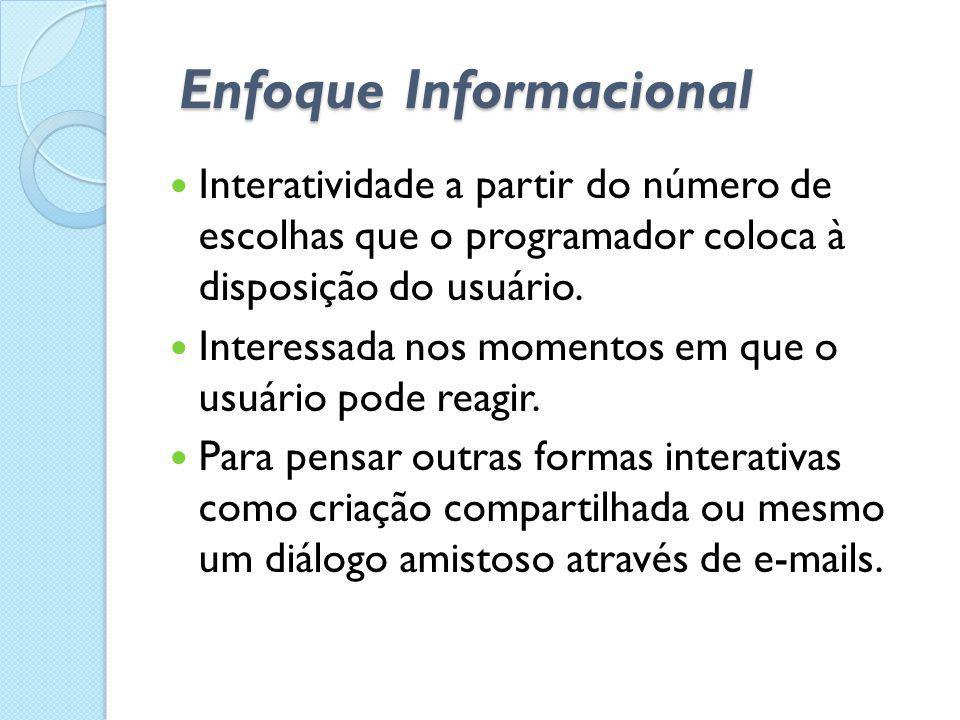 Enfoque Informacional  Interatividade a partir do número de escolhas que o programador coloca à disposição do usuário.  Interessada nos momentos em